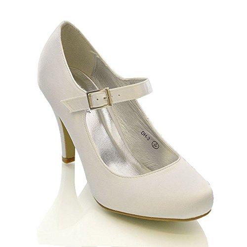 WOMENS BRIDAL STILETTO WHITE IVORY SATIN LADIES HEELS WEDDING BRIDESMAID COURT SHOES...