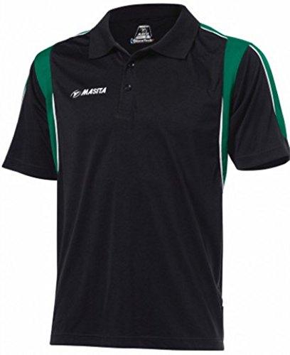 Neue Masita Polo Sport Shirts Hälfte gezackte Abschlüsse Herren Gestreift Casual Shirts Polo Top mehrfarbig - schwarz / grün