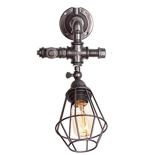 GRFH Loft Tubo de agua de la pared de la lámpara Café de la tienda creativa Retro personalidad del tubo de hierro Lámpara de pared Lámpara de la cabeza Cabeza de la lámpara giratoria 90 grados Edison Industries , b