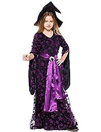 Liny Niños Disfraz de Bruja con Sombrero - Niñas Disfraz Cosplay Vestido de Bruja para Halloween