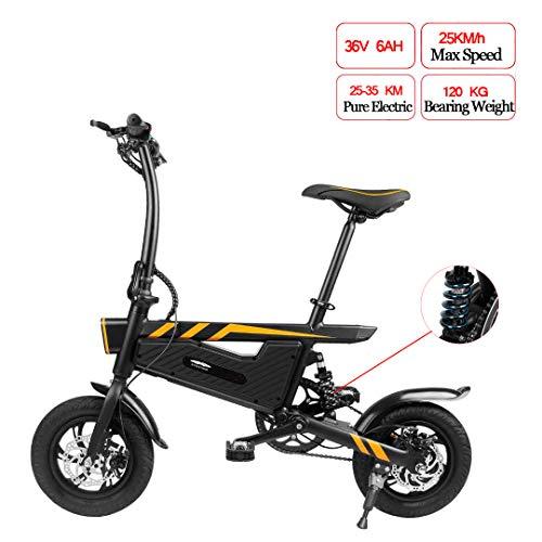 TTW Faltendes elektrisches Fahrrad 36V 6AH 250W Hochleistungs-E-Fahrrad 16 Zoll-Reifen und Höchstgeschwindigkeit 25 km/h Doppelscheibenbremsen Fahrrad für Erwachsene und Studenten,Black