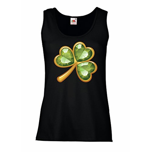 Damen Tank-Top Irish shamrock St Patricks day clothing (Small Schwarz Mehrfarben)