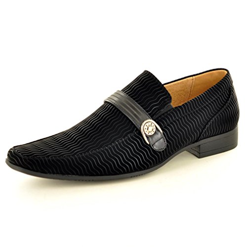 Men's Italian Style Black Lined Suede Slip On Formal Wedding Shoes ( Size 8)