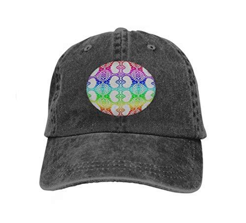 Unisex Adult Baseball Cap Trucker Hat Cowboy Hat Hip Hop Sports Snapback Colorful Rainbow Colors Hearts Heart Distribution Pattern ti Black