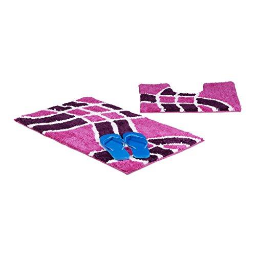 Relaxdays Badgarnitur 2-teilig mit Wellenmuster, Für Fußbodenheizung, Waschbar, Badematte und WC-Vorleger, Für Stand-WC, 80 x 50 cm, - In Lila Und Teppich-sets Bad-matten