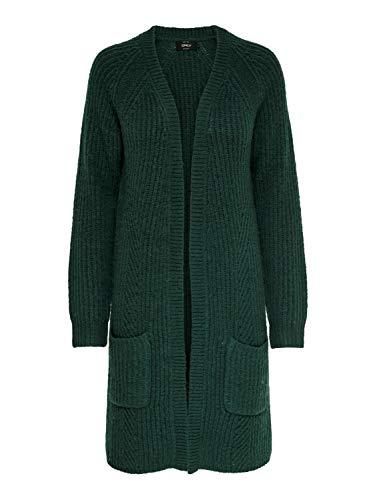 ONLY NOS Damen ONLBERNICE L/S Cardigan KNT NOOS Strickjacke, Grün (Green Gables Detail: Black Melange), X-Large (Herstellergröße: XL)