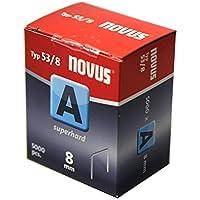 """Novus 042-0517 A 53 - Grapa de alambre fino""""ultraduro"""" con 8 mm longitud, 5000 Grapas del Tipo 53/8 ultraduro, un alambre de altísima solidez y estabilidad de la grapa"""