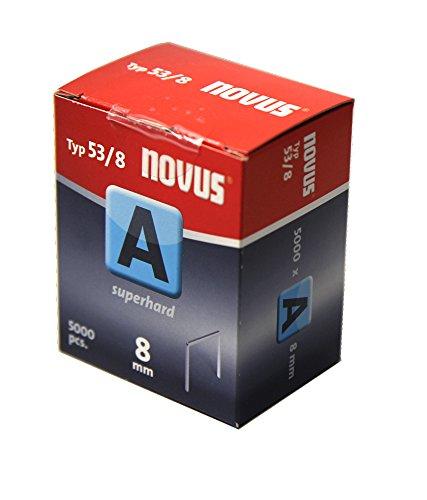 """Novus Feindrahtklammern 8 mm \""""superhart\"""", Sparverpackung, 5000 Tacker-Klammern vom Typ 53/8, Heftmittel aus Stahldraht"""