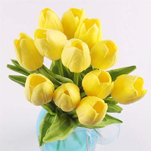 Myfilma  12 Stück Tulpe Blumen, Künstliche Deko Blumen Gefälschte Blumen mit Blätter Dekoriere Seiden Plastik Braut Hochzeitsblumenstrauß für Haus Garten Party Blumenschmuck