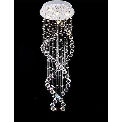 NASEN LED luces Colgante Doble espiral candelabros de cristal claro colgante de techo apliques de luz D13.78