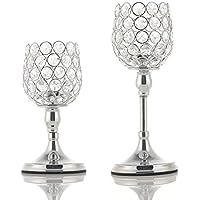 VINCIGANT Silver Crystal Candle Holder Juego de 2 para Regalos Modernos de celebración de Aniversario, 8 y 10 Pulgadas de Alto