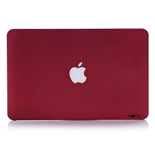 Heartly Quicksand Finish MacBook Flip Thin Hard Shell Rugged Armor Hybrid Bumper Back Case Cover For MacBook Pro 13'' inch With Retina Display ( Model: A1502 / A1425 ) - Metal Burgundy