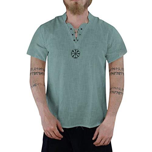 TEBAISE Freizeithemd Leinenhemd Herren Mittelalter Hemd T-Shirt Kurzarm Fisherman Sommerhemd Leinen Baumwolle Yoga Hippie Shirt Top Vintage Kragenlose Einfarbig Atmungs Natur Shirt