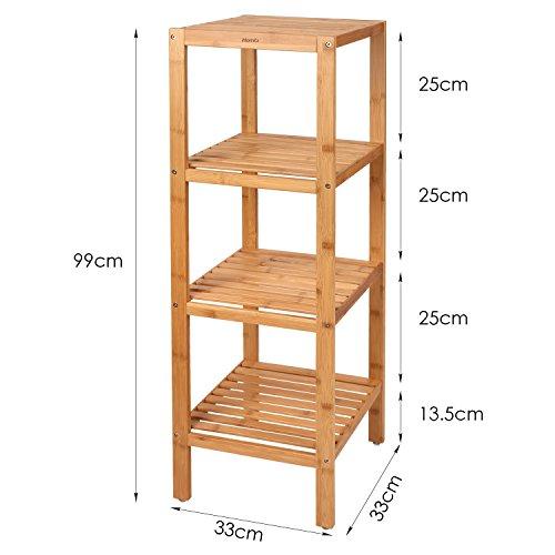 Homfa estanter a de bamb estanter a ba o con 4 niveles for Estanteria bano amazon