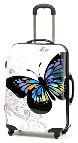 Valise rigide en carbone/polycarbonate case valise trolley papillon blanc taille xL