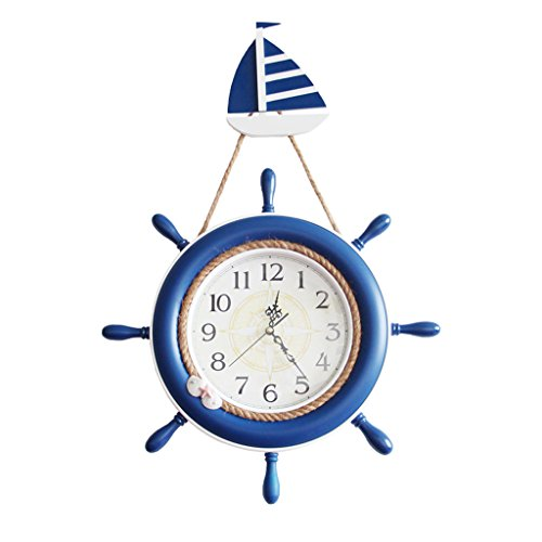 Sunjun Mute Ruder Tisch Mittelmeer Stil Wanduhr Kreative Quarz Uhr Shop Bar Uhr
