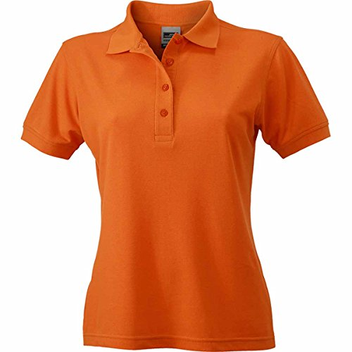 JAMES & NICHOLSON Damen Poloshirt, Einfarbig Orange
