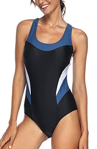 Avacoo Damen Badeanzug Figurformend Schwimmanzug Mit Performance-Schnitt Racer-Back Sport Bademode Schwarz Weiß XXL Gr. 44 -