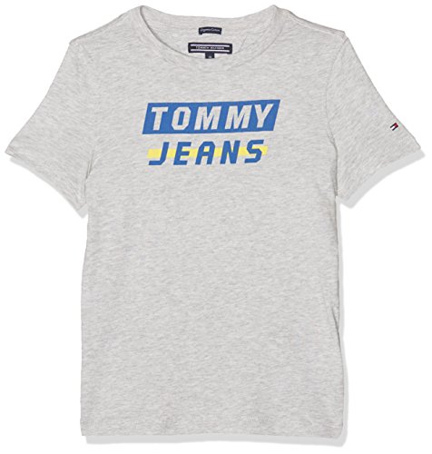 Tommy hilfiger ame bold logo tee s/s, t-shirt bambino, grigio (light grey htr 061), 92