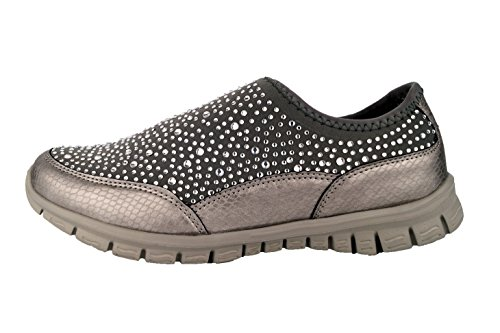 360 Damen Diamant Slipper Elastik-Sneaker Glitzer Strass super leicht bequem Glamour Grau