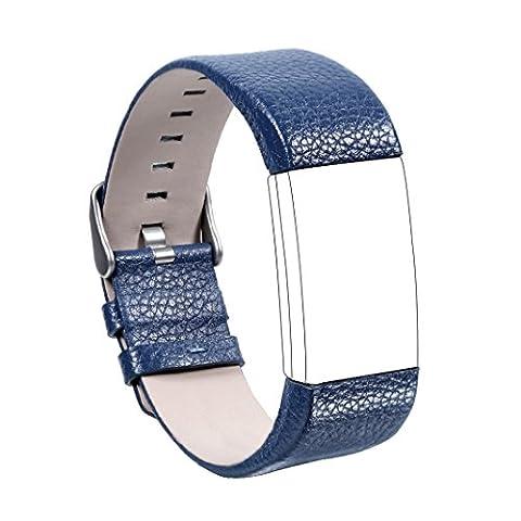 Armband für Fitbit Charge 2, Rosa Schleife Fitbit Alta HR Leder Replacement Wrist Band Watchband Fitness Strap Uhrenarmband Ersatzband mit Metallschließe für Fitbit Charge 2 Blau