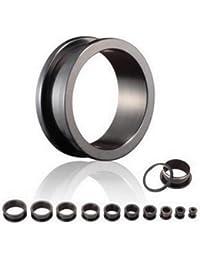 Treuheld®   TITAN TUNNEL in SCHWARZ - black - 18 Größen wählbar: 1 - 30mm - schraubbar - Piercing Ohr FLESH TUNNEL aus hochwertigem, schwarzem Titanium mit Schraubverschluss, allergikerfreundlich