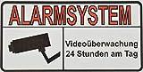 10 + 1 Bonus: Premium Vinyl Aufkleber 'Alarmsystem - Videoüberwachung' - hochwertig & UV resistent - 10 x 5 cm - Außenanbringbar auf Wände, Fenster, Tore, Türen - Alarmanlage - Alarmgesichert - Sticker - Abschreckungsaufkleber