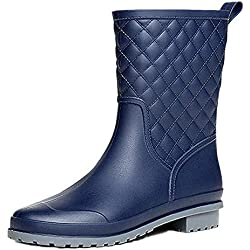 Bota Agua Mujer Jardín Trabajo Lluvia Botas Antideslizante Wellington Boots Azul 37