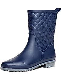 Bota Agua Mujer Jardín Trabajo Lluvia Botas Antideslizante Wellington Boots Negro Caqui Azul 36-43