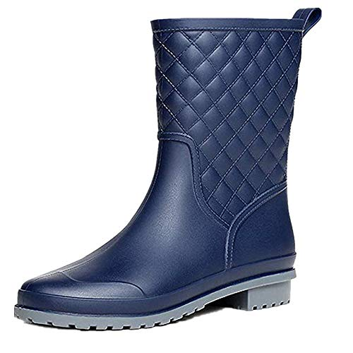 Halbhohe Gummistiefel Damen Kurz Frauen Regenstiefel Stiefeletten Gartenarbeit Mode Outdoor Boots Blau 37