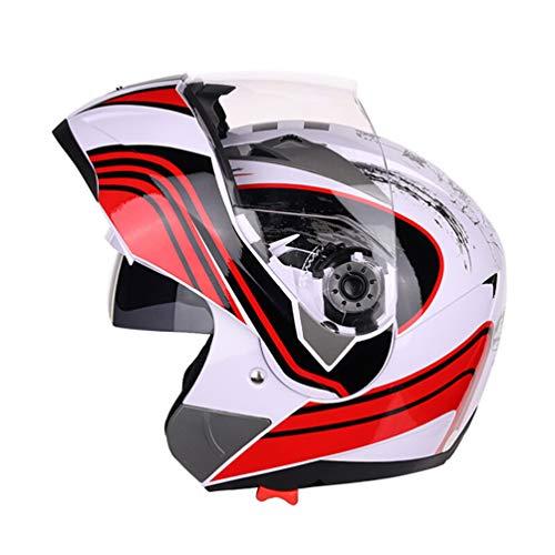 Qianliuk Moto Casco Moto Doppio Obiettivo Full Face Casco Anti-Nebbia Adulto Casco Universale Motocross