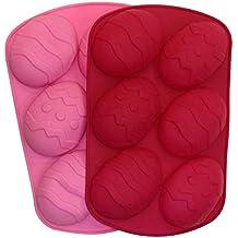 Paquete de 2 moldes de silicona para huevos de Pascua de chocolate (color enviado al