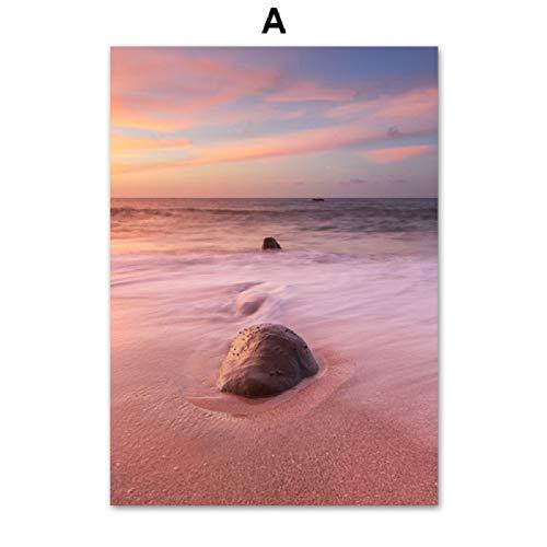 XWArtpic Dente di Leone Foglia di Palma Mare Spiaggia Ragazza Citazioni Wall Art Canvas Painting Nordic Poster e Stampe Immagini a Parete per Soggiorno Decor A 40 * 50 cm