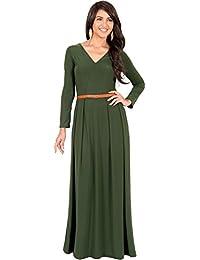 KOH KOH® Damen Langarm Maxikleid Elegant Abendkleid V-Ausschnitt