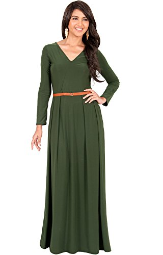 KOH KOH Da Donna Maxi abito autunnale da cocktail da sera con scollo a V Vestiti Verde oliva