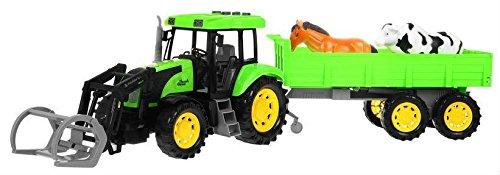 Modelo de Tractor con Remolque para Niños Juguete con Efectos de Sonido y Luz - Verde