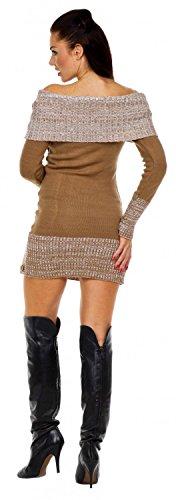 Zeta Ville - Robe pull en maille encolure Bardot manches longues - femme - 415z Cappuccino