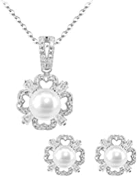 BiBeary Women elegant 925 Sterling Silver Zirconia two tulip Rose Mother Love Valentine Necklace OKq62