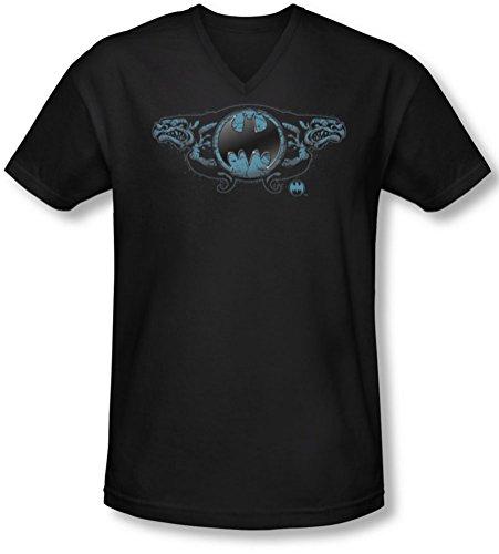 Batman - Männer Zwei Wasserspeier-Logo-T-Shirt mit V-Ausschnitt, Medium, Black