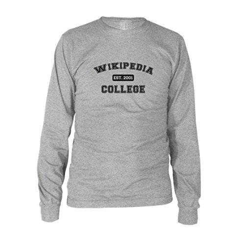 Wikipedia College - Herren Langarm T-Shirt Grau Meliert