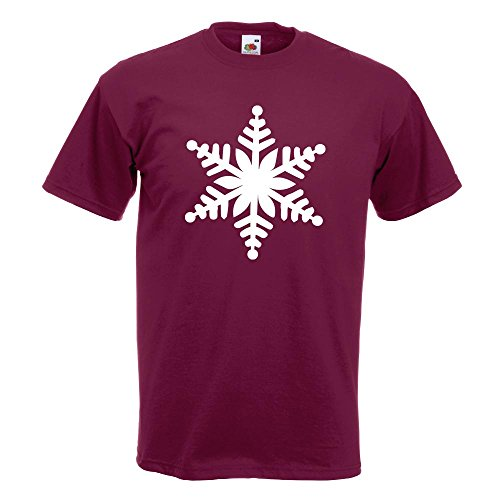 KIWISTAR - Schneeflocke Design 1 T-Shirt in 15 verschiedenen Farben - Herren Funshirt bedruckt Design Sprüche Spruch Motive Oberteil Baumwolle Print Größe S M L XL XXL Burgund