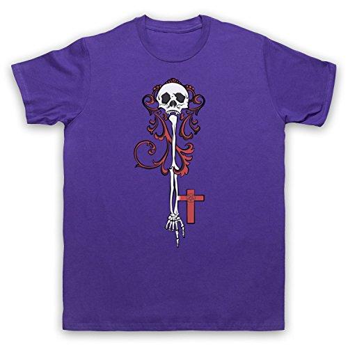 Skeleton Key Gothic Illustration Herren T-Shirt Violett