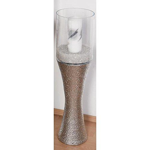 formano Deko Säule mit Glasaufsatz Silber Keramik H. 110cm D. 24,5cm rund