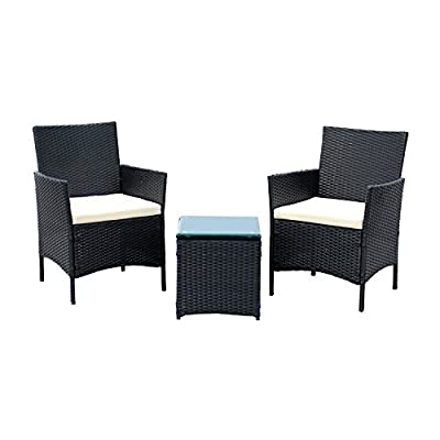 EBS 3 Piece Rattan Outdoor Garden Furniture Patio Set Clearance Sale Coffee Table + 2 Chairs White Cushions - Black PE