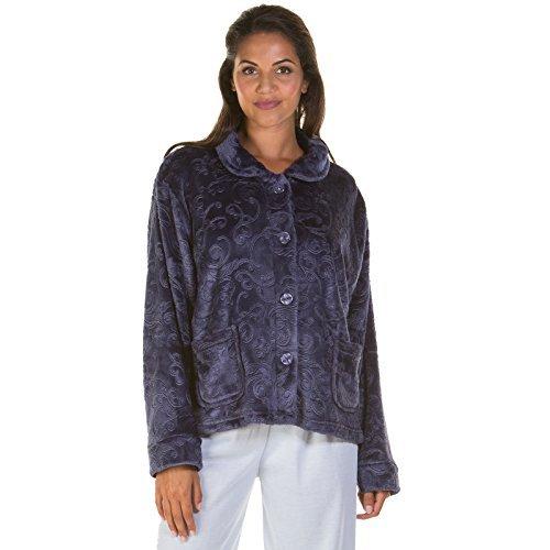 Damen Bademantel Damen Bettjäckchen Fleece geprägt Reißverschluss Knopf Robe NEU Übergröße - marineblau Bettjäckchen, 42-44 (Robe Bett-jacke)