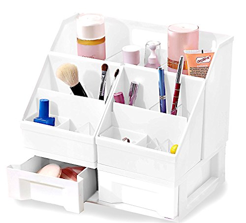 Linie Geschlossene Regale (Klare Designs Make-up Organizer Mit Schubladen, plastik, weiß, Large Adjustable)