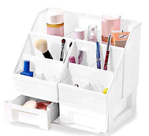 Uncluttered Designs Make-up Organizer Mit Schubladen (Groß Einstellbar, Weiß) (Schreibtisch-organizer Tier)