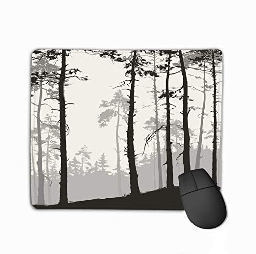 Mouse Pad Pine Forest Natural Background Silhouette Hipster Rectangle Rubber Mousepad 11.81 X 9.84 Inch