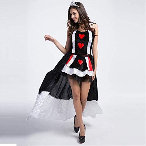 50 Queen Kostüm Prom - ZmnXnm Halloween Königin Kostüm, Poker Queen Cosplay Anzug, Krone Kostüm, Einheitliche Set,Horroratmosphäre Kleidung XL schwarz