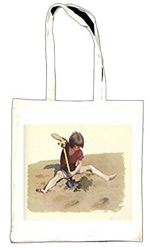 Niño jugando en la arena en la playa Vintage Ilustración Totebag